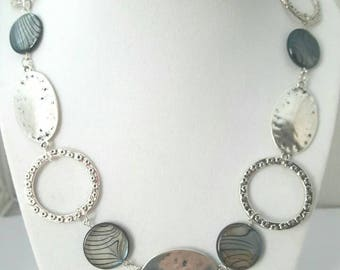 Silver necklace - Silver chain necklace - Long silver necklace - Silver hoop necklace - Design hoop necklace - Long hoop necklace