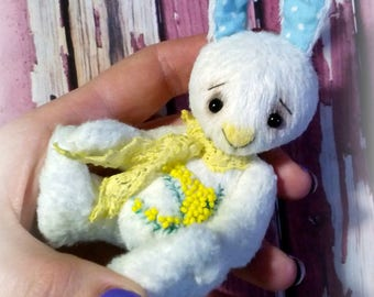 Big sale! Artist teddy bunny 3.9 inches Miniature teddy rabbit OOAK teddy Gift Stuffed bunny animal Mini bunny Mini toy