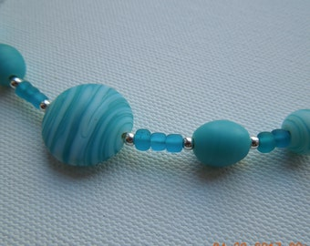 Teal white Glass Bead sterling silver Bar Necklace Hand made