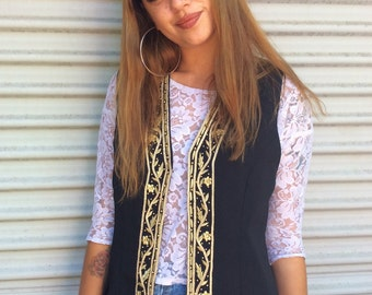 Vintage 90's embroidered beaded gold vest