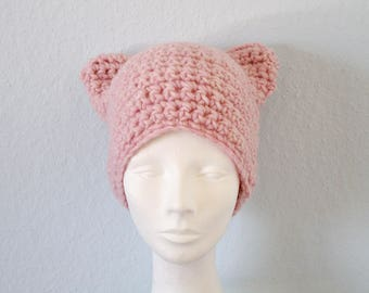 Pink pussy hat Crochet pussy hat Crochet cat hat Knit pussy hat Kitty cat hat Pink kitty beanie Knit cat hat Woll pussy hat Chunky cat hat