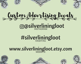 Advertising Decal | Instagram Vinyl Decal | Create Your Own Hashtag Sticker | Custom Website Decal