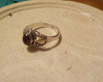 Antique Garnet and Silver Ring