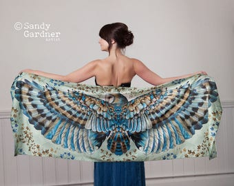 Owl Scarf shawl, holiday sarong, Barn Owl scarf, wing scarf, Owl, bird scarf, Barn Owl Scarf, Winged scarf, bird wings, winged shawl