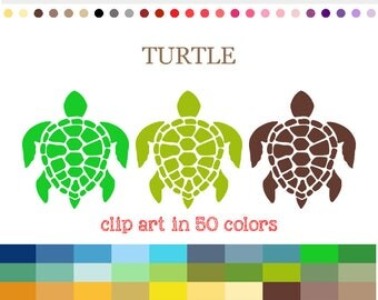 50 Colors Digital TURTLE Clipart Hawaiian Turtle Clip Art Rainbow Turtle Digital Turtle SVG PNG Graphic Scrapbooking Supplies Crafting #C070