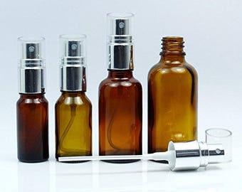Lot of 6 Empty Amber Glass Atomizer Bottles, Refillable Essential Oil Perfume Spray Bottle, Wholesale Boston Round Bottles BOT138-PAR