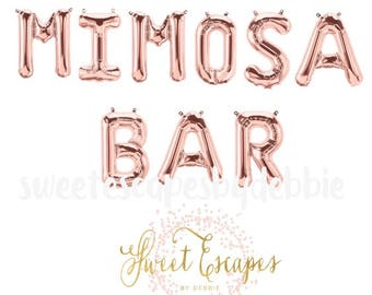 mimosa bar rose gold letter balloons bridal shower balloons mimosa bar