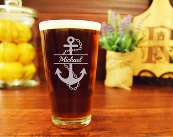 Personalized Engraved Pint Glass, Split Anchor, Customized Pint Glasses, Nautical Beer Glass, Gifts for Wedding, Wedding Party Gift