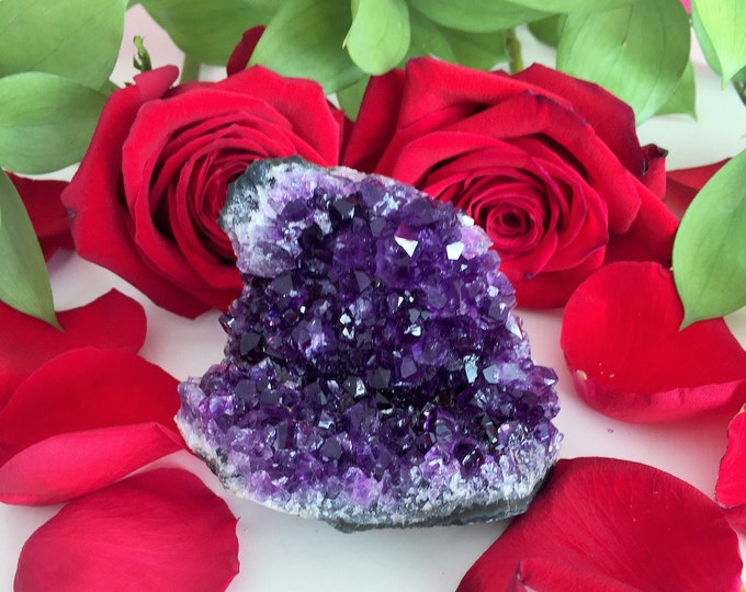 Amethyst Deep Purple Standing Crystal w/ Reiki Perfect Birthday / Mother's Day Gift
