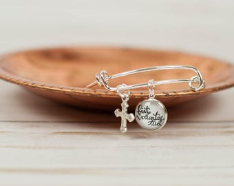 Thy Will Be Done Latin Bangle Bracelet, Bible Inspired Cross Bracelet, Christian Going Away Present, Unique Gifts for Mom, 602031