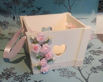 Shabby Chic , Wooden Cream Storage Box with Pink & Cream Roses