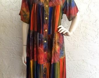 Jane M Vintage Hawaiian Tie Dye Tunic Dress