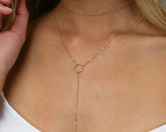 Open Circle Lariat, Gold Y Necklace, Long Gold Necklace, Simple Y Necklace, 14k Gold Fill, Sterling Silver, LEILAjewelryshop, N202