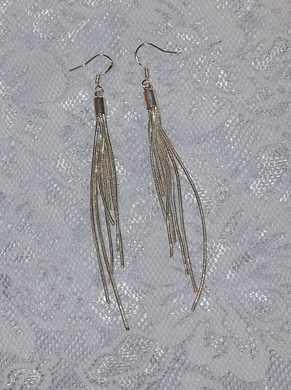 """Vintage 4"""" Silver Plated Snake Chain Dangle Earrings ca. 1980's"""