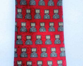 Vintage 80s 90s Computer Necktie