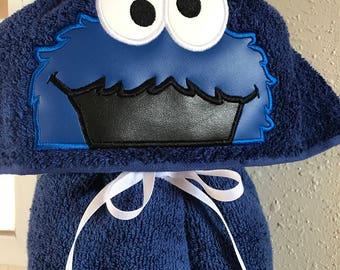 Cookie Monster Hooded Towel - Hooded Towel - Towel - Childs Hooded Towel - Personalized Towel - Adult Hooded Towel  -RedRockCraftsWY