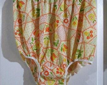 Vintage Colorful  Orange  Floral  Geometric Granny Panties Briefs  Nylon  Medium To Large(reserved)
