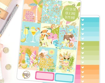 Aloha Weekly Kit Planner Stickers for use in Erin Condren