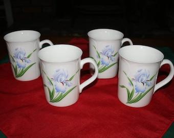 Vintage set of 4  Octagiri of Japan Iris Embossed Mug / Cup