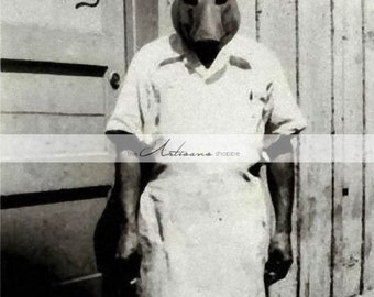 Printable Instant Download - The Butcher Pig Hog Creepy Masked Man Portrait Vintage Photography - Altered Art Paper Crafts Scrapbooking