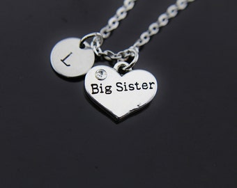 Silver Big Sister Charm Necklace, Sister Necklace, Heart Charm, Big Sister Charm, Personalized Necklace, Initial Necklace, Initial Charm