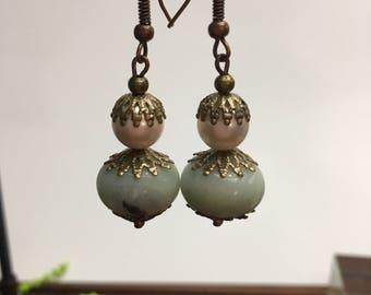Blue amazonite gemstones pearls  dangling earrings, Long dangle  drop earrings, Gifts for her, Moms earrings, Pearls, Filigree  jewelry,