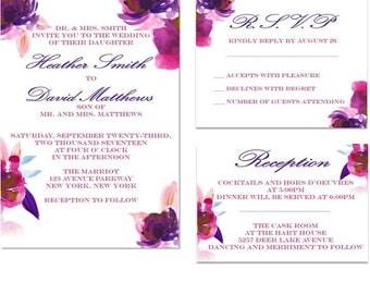 Printable Purple and Pink Watercolor Floral Wedding Invitation Set- RSVP Card- Reception Details