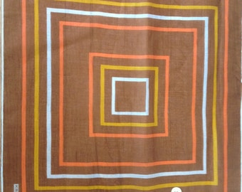 Kreier 100% Cotton Handkerchief - Geometric Design in Browns, White and Orange - New and Unused From Vintage 1970 Stock