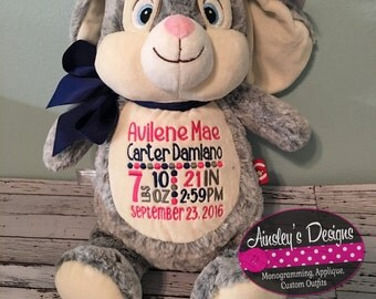 Personalized stuffed animals!Personalize with a name, monogram or birth annoucement! Pick your animal!