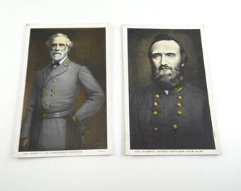 Robert Lee & Stonewall Jackson Vintage Postcards