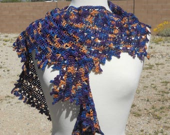 Dark Blue, Purple and Orange-Yellow Merino Wool and Nylon Narrow Asymmetrical Crescent Crocheted Shawlette