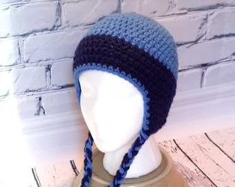 Child Hat crochet, blue hat, earmuffs, winter hat, tuque with cords, tuque boy