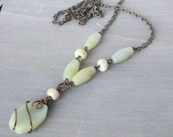 New Jade Bronze Necklace - Pendant Necklace, Gemstone Necklace, Wire Wrapped Necklace, Boho Necklace, Boho Jewelry, Bohemian Necklace