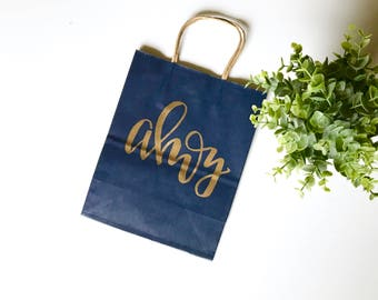 Ahoy- custom gift bag, hand lettered gift bag, nautical wedding, nautical bachelorette, nautical gifts, beach themed wedding, beach wedding