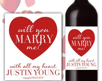 Will You Marry Me Marriage Proposal Get Engaged Unique Ask Her Custom Wine Champagne Bottle Label Personalize Customizable Wedding #MarryMe3