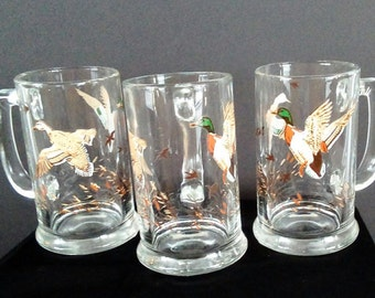 Vintage Waterfowl/Ducks Beer Mugs/Steins/Glasses, Barware, Glassware