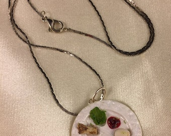 Pesach Seder Plate Necklace - Passover Jewelry - Polymer Clay Seder Plate on Delicate Gunmetal Chain - Miniature Food Judaica Necklace
