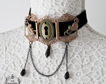 Steampunk vintage velvet-metal choker-Steampunk choker-Black velvet choker-vintage jewelry
