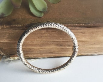 Vintage Sterling Silver Milor Hinged Textured Italy Bangle Bracelet ~ Stacking Jewelry