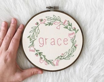Embroidered Floral Grace Wreath Hoop, Grace Inspirational Word Hoop Art, Embroidery Home Decor Gift, Stitched Flower Circle, Grace Hoop Art