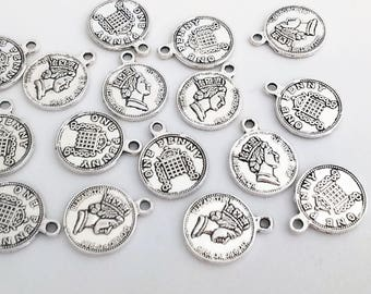 16x united kingdom 1 one penny coin, silver pendant, 18 mm charm, findings, supplies, elizabeth II pound, double sided charm, british coin