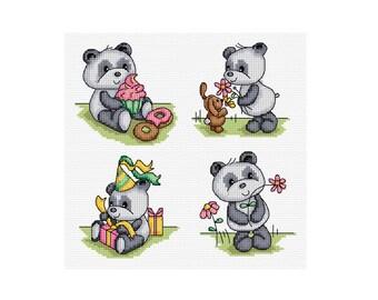 Happy Panda - Set of 4 - Durene J Cross Stitch Patterns