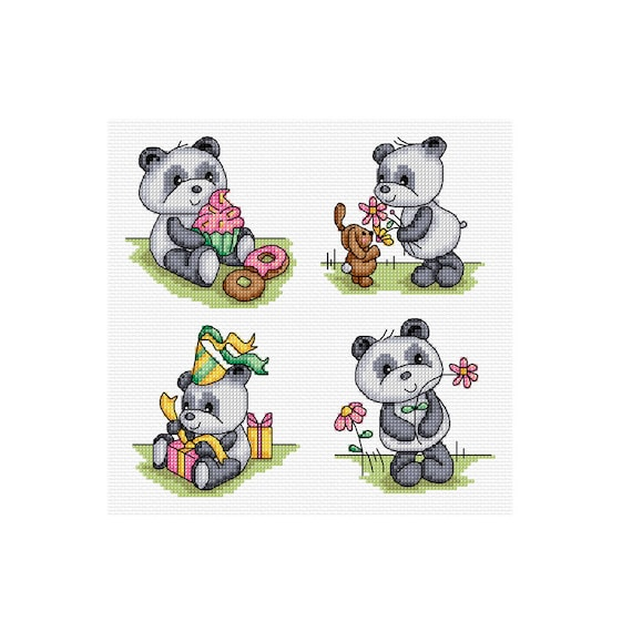 happy panda set - 4 cross stitch patterns