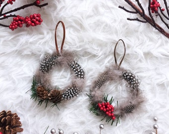 Bohemian Wreath Ornament - Holiday Hostess Gift - Boho Chic Christmas Tree Ornament - Feather Wreath - Modern Boho Christmas Decor