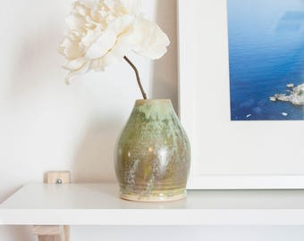 Sage Green Round Ceramic Drop Bud Vase by Barombi Studios