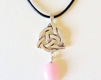 Triquetra Pink Jade Necklace - triquetra necklace, triquetra pendant, pink jade pendant, jade jewellery, triquetra jewellery, spiritual