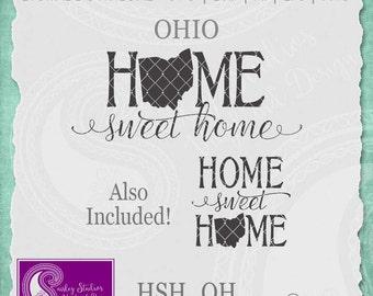 Ohio SVG, Ohio State Svg, Home Sweet Home SVG, Ohio State Pride, Home SVG Cut Files, Svg Files, Silhouette Cut Files, Cricut Cut Files