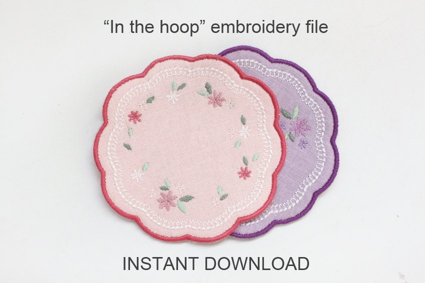Ith in the hoop coaster machine embroidery file instant