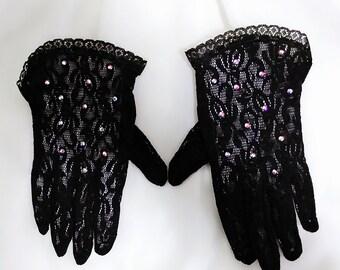 Black tea party gloves, Girls gloves, Flower girl gloves, Junior gloves, First Communion gloves, Church gloves, Little girls gloves