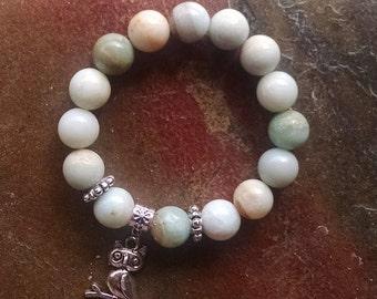 Amazonite stretch beaded bracelet with Owl charm 12mm